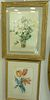 """Two Piece Group, to include Erika Von Kager (1890 - 1975), watercolor, still life daisies, signed lower left 'E Kager' matted in gilt frame, 16 1/4"""" x"""