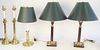 Five Candlestick Lamps, pair of brass oil lamps, electrified; pair turned wood with brass mounts, height 24 inches; along with a single brass lamp.