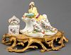Chinoiserie Gilt Mounted Porcelain Figural Inkwell