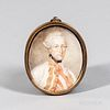 French School, Late 18th Century  Portrait of a Military Officer. Indistinct signature along left edge. Watercolor on ivory, 3 x 2 1/4 in., in a brass