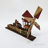 Small Carved and Painted Pine Horse Race Whirligig