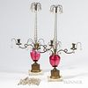 Pair of Cranberry and Crystal Girandoles,19th century