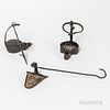 Two Wrought Iron Betty Lamps and a Grease Lamp,18th/19th century