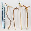 Six Contemporary Painted Walking Sticks