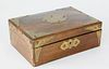 English Rosewood Brass Bound Jewelry Box, 19th century