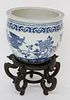 Antique Chinese Canton Style Blue and White Porcelain Jardiniere