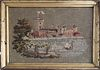 """19th Century Needlework Embroidery, """"Castle with Harbor"""""""