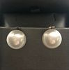 Fine Pair of 12.2mm White South Sea Pearls Earrings, 14k Gold