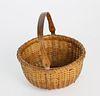 Diminutive Round Open Swing Handle Nantucket Basket, circa 1900
