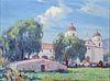 """Carl Oscar Borg Painting """"Santa Barbara Mission"""" c1920s"""