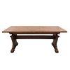 Mesa.  Francia.  Siglo XX.  En talla de madera de roble.  Con cubierta rectangular, fustes a manera de jarrón.