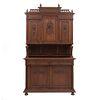 Buffet. Francia. Siglo XX. En talla de madera de roble. A 2 cuerpos. Con 2 cajones y 5 puertas. 246 x 138 x 50 cm.