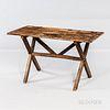Small Pine and Oak Sawbuck Table