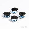 Four Delft Paint Pots with Japanned Tin Lids