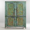 Large Blue/green-painted Pine and Punched Tin Pie Safe