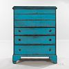 Robin's Egg Blue-painted Pine Chest over Three Drawers