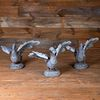 Group of Three Grey Painted Metal Models of Swans Taking Flight Fountains