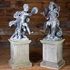 Two Cast Lead Figures of Two Frolicking Youths