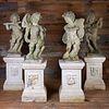 Set of Four Cherub Form Cast Stone Musicians on Matching Pedestals