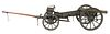 French Model Field Cannon with Limber, made of iron and grey painted wood with ammo box, rare facing leather seat and heavy brass adjustable cannon, l