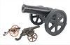 Three Iron Civil War Cannons, mid 19th century, two small toy sized along with a larger model for 1 inch balls, length 15 inches, width 11 inches.