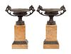 A Pair of Grand Tour Bronze Tazze On Marble Bases
