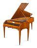 An Austrian Enamel Inset Burlwood Harpsichord