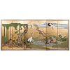 Japanese Edo Period Six Panel Floor Screen