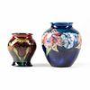 Grp: 2 Moorcroft English Deco Art Pottery Orchid Flower Vases