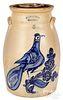 NY stoneware churn, White & Wood Binghamton bird