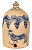 NE stoneware chicken feeder, grapevine & rooster