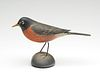 Rare full size decorative robin on wooden base, Elmer Crowell, East Harwich, Massachusetts.