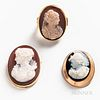 Three Gold and Hardstone Cameo Items