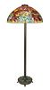 A MODERN TIFFANY STYLE STAINED GLASS 'HOLLY' FLOOR LAMP