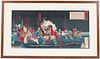 Woodblock Print, Yoshitoshi, Figures in River