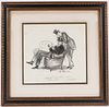 William Glackens, Ink on Paper, Two Men & Chairs