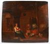 Old Master Oil on Panel, Woman in Barn
