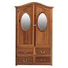 Ropero. Siglo XX. Elaborado en madera tallada. Con 2 puertas, 4 cajones y soportes lisos. Decorado con espejos con lunas ovales.