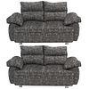 Par de love seats. Siglo XX. Estructuras de madera, en tapicería color gris. Con respaldos cerrados, asientos acojinados.