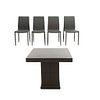 Antecomedor. Siglo XX. Elaborado en material sintético y MDF. Consta de: Mesa y 4 sillas.