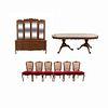 Comedor. Siglo XX. En talla de madera. Consta de: Mesa, 6 sillas, vitrina - trinchador.
