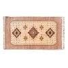 Tapete. México, siglo XX. Estilo Temoaya. Elaborado en fibras de lana. Decorado con motivos geométricos sobre fondo beige.
