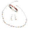 Brazalete, collar y par de aretes con corales en plata .925. Peso: 55.9 g.