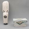 Lote de caja y figura decorativa de gato. México. Siglo XX. Elaborados en madera policromada. Figura de gato para pared.