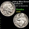 1926-p Mint Error Buffalo Nickel 5c Grades Choice AU