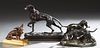 Group of Three Metal Dog Figures, 20th c., one a bronze scottie by Jennings Brothers; one a patinated spelter group of two dogs, a frog and a rabbit;
