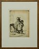 """Knute Heldner (1877-1952, Swedish/Louisiana), """"Street Urchins,"""" 1933, etching, signed and dated in the plate lower right, presented in a wood frame, H"""