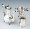 Three Pieces of Sterling Silver, early 20th c., consisting of a coffee pot by Wm. Kendrick's Sons, Louisville, KY on paw feet together with a sterling