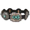 """Navajo Style """"Roland Dixson"""" Sterling Turquoise Belt"""