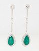 Pair of Platinum Pierced Pendant Earrings, the diamond mounted stud suspending two rectangular pointed diamond mounted links, to a pendant with a 2.83